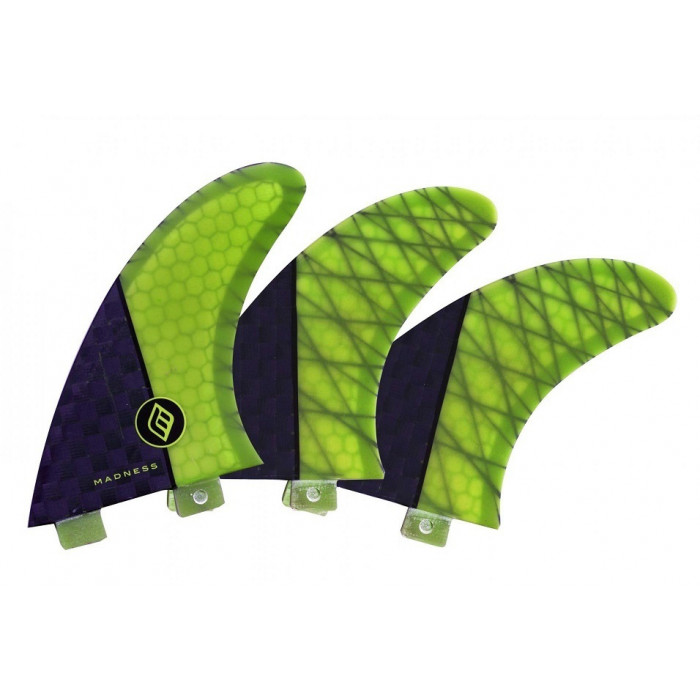 Dérives Madness surf TFH FX2 HoneyComb Carbon 3 pièces Carbon Lime