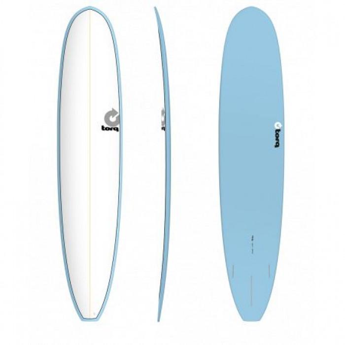 "PLANCHE DE SURF 9'6"" PINLINE TORQ EPOXY LONGBOARD WHITE/BLUE"