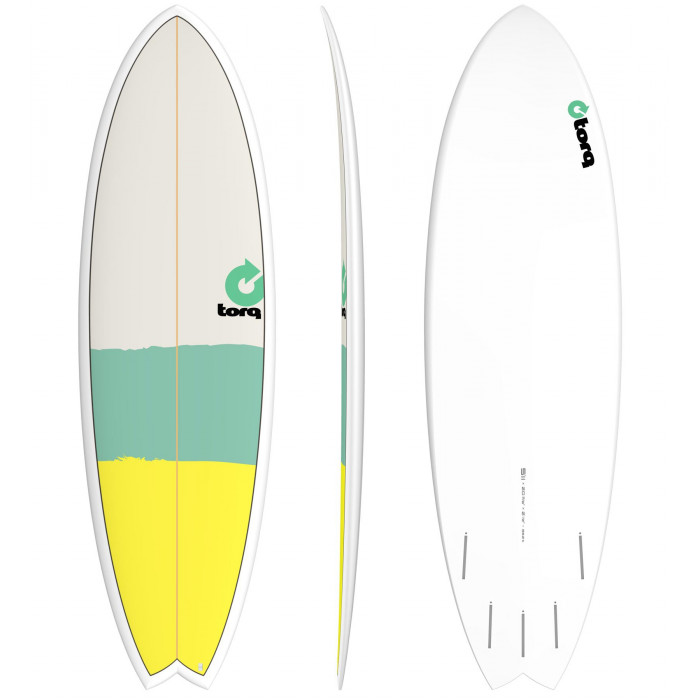 """PLANCHE DE SURF 5'11"""" NEW CLASSIC TORQ EPOXY FISH Yellow/Seagreen/Gray"""