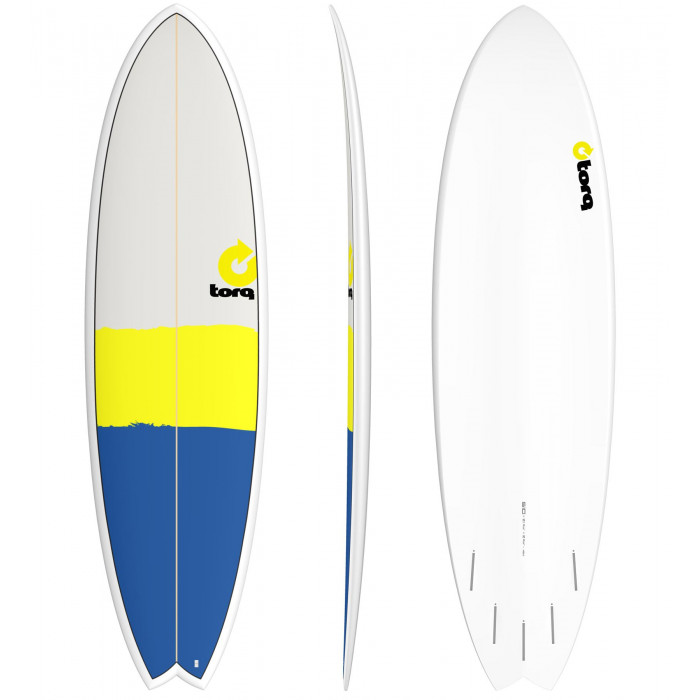 "PLANCHE DE SURF 6'10"" NEW CLASSIC TORQ EPOXY FISH Blue/Yellow/Gray"