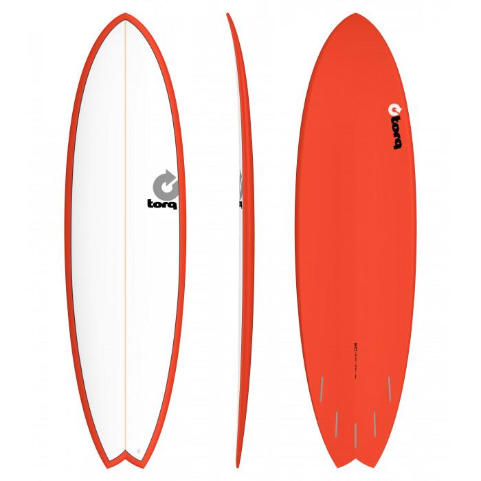 "PLANCHE DE SURF TORQ 6'10"" PINLINE FISH WHITE/RED"