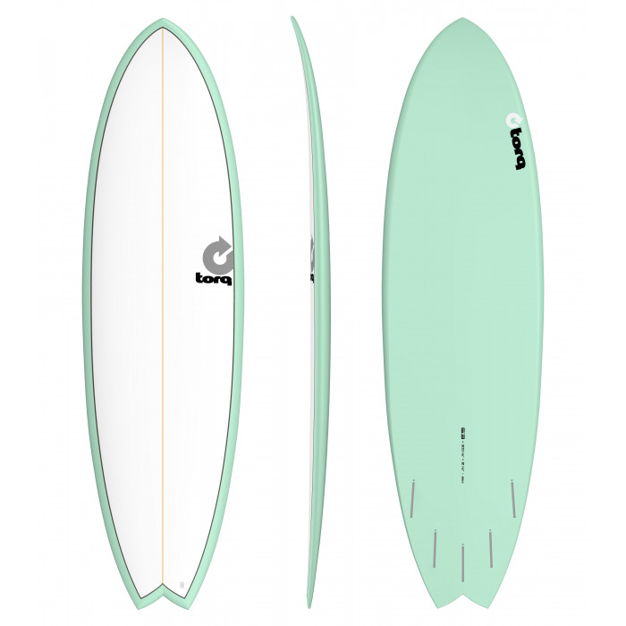 "PLANCHE DE SURF TORQ 7'2"" PINLINE FISH WHITE/SEAGREEN"