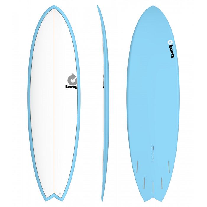 """PLANCHE DE SURF TORQ 6'6"""" PINLINE FISH WHITE/BLUE"""
