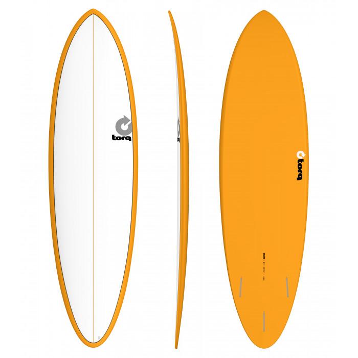 "PLANCHE DE SURF 6'8"" PINLINE TORQ EPOXY FUNBOARD WHITE/ORANGE"