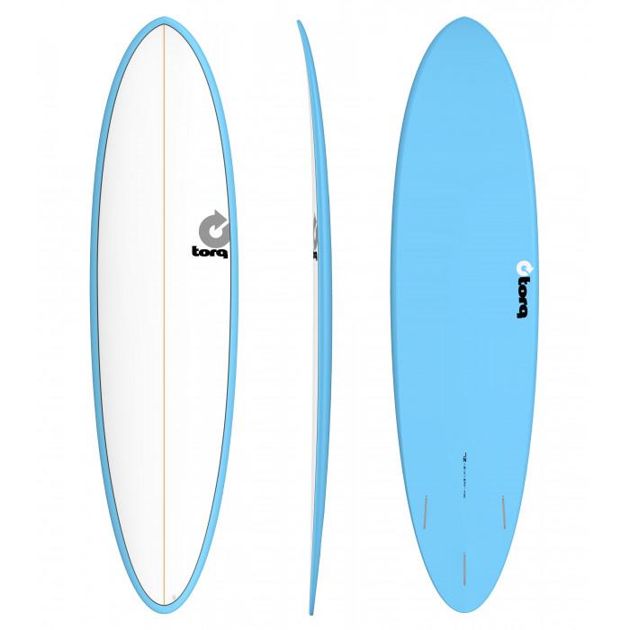 """PLANCHE DE SURF TORQ 7'2"""" PINLINE FUNBOARD WHITE/BLUE"""