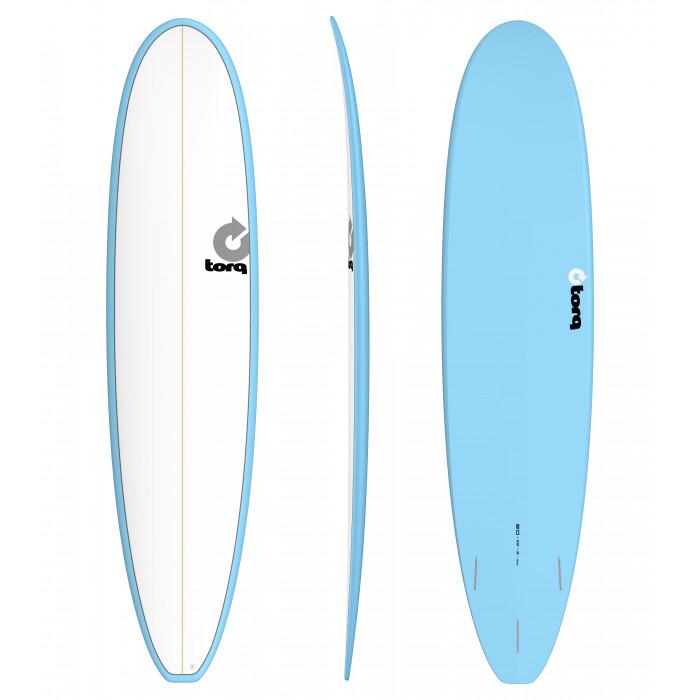 "PLANCHE DE SURF TORQ 8'0"" MALIBU PINLINE WHITE/BLUE"