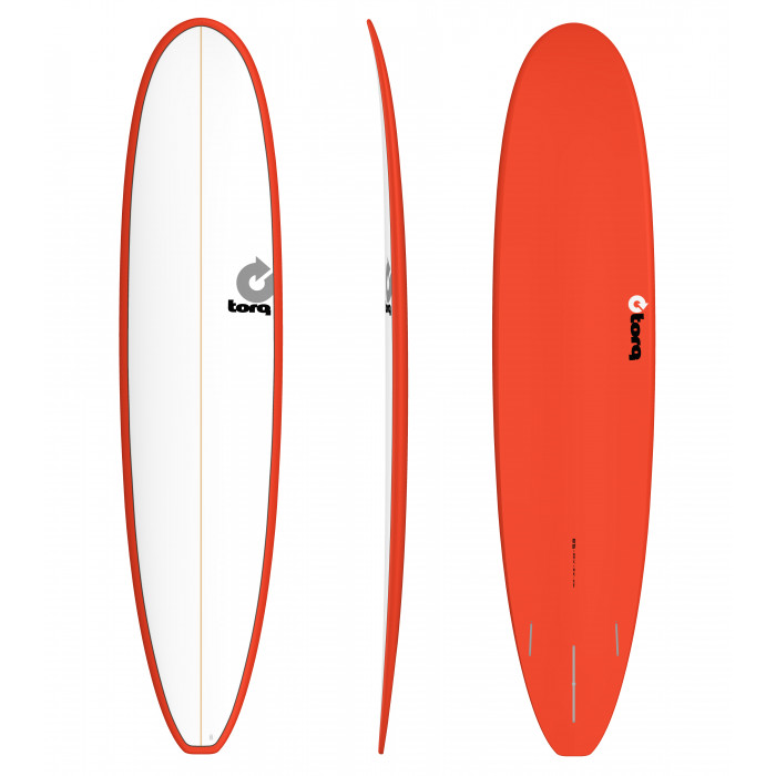 "PLANCHE DE SURF TORQ 8'6"" MALIBU PINLINE WHITE/RED"