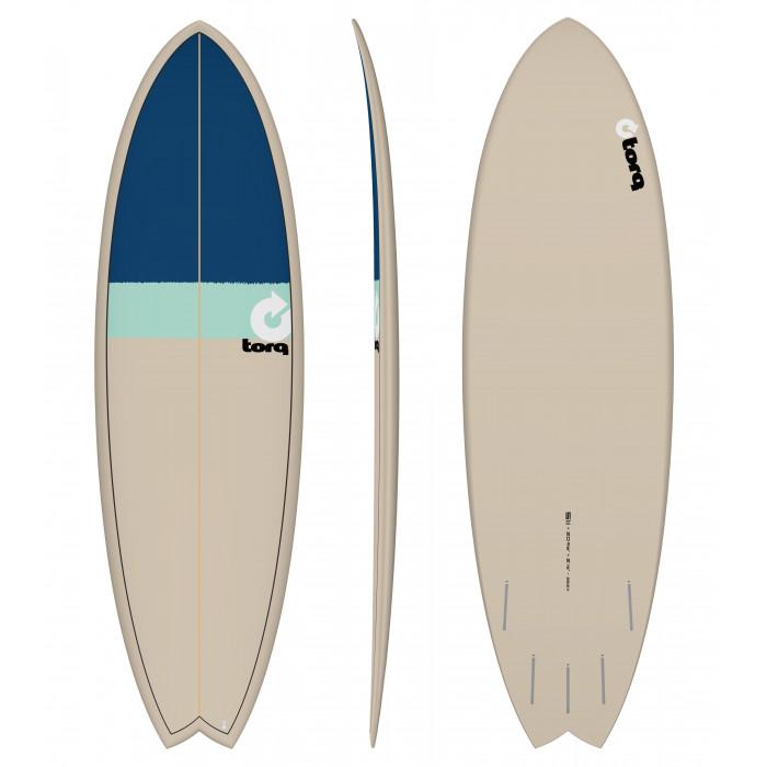 "PLANCHE DE SURF 5'11"" NEW CLASSIC TORQ EPOXY FISH STONE/SEAGREEN/NAVY BLUE"
