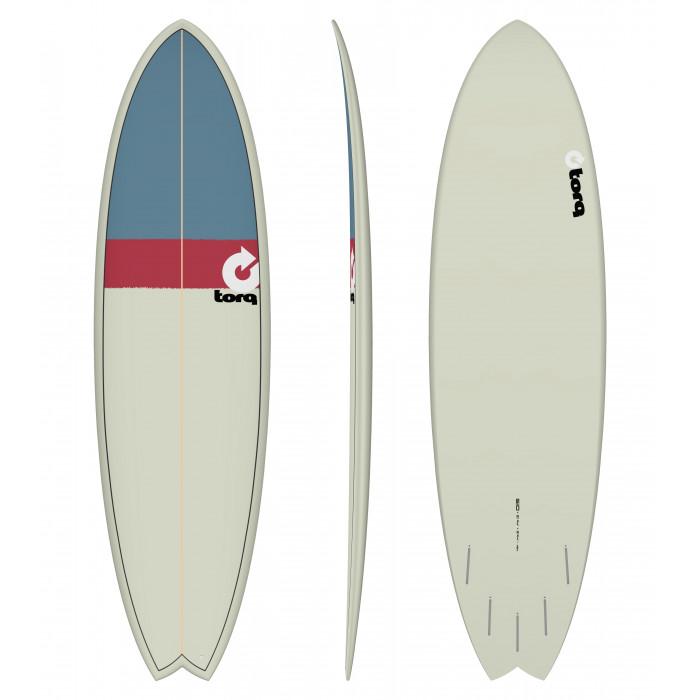"PLANCHE DE SURF 6'10"" NEW CLASSIC TORQ EPOXY FISH SAND/RED/GRAY"