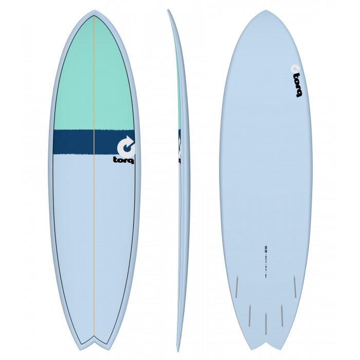 "PLANCHE DE SURF 6'3"" NEW CLASSIC TORQ EPOXY FISH BLUE/NAVY BLUE/SEAGREEN"