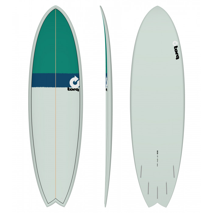 "PLANCHE DE SURF 6'6"" NEW CLASSIC TORQ EPOXY FISH SEAGREEN/NAVY BLUE/GREEN"