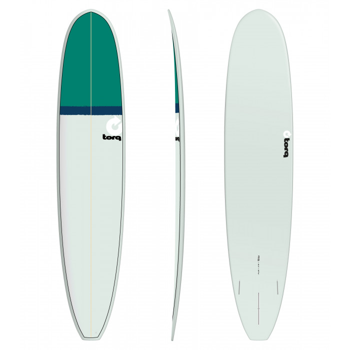 "PLANCHE DE SURF 9'6"" LONG TORQ EPOXY LONGBOARD SEAGREEN/NAVY BLUE/GREEN"