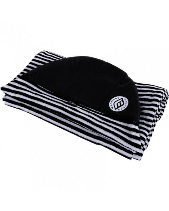 "Housse de surf stretch 7'2"" Funboard MADNESS White/Black stripes"