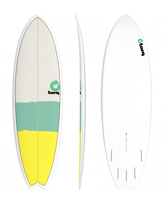 "Planche de surf 5'11"" NEW CLASSIC TORQ EPOXY FISH Yellow/Seagreen/Gray"