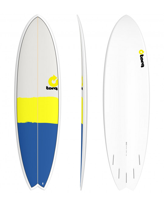 "Planche de surf 5'11"" NEW CLASSIC TORQ EPOXY FISH Blue/Yellow/Gray"