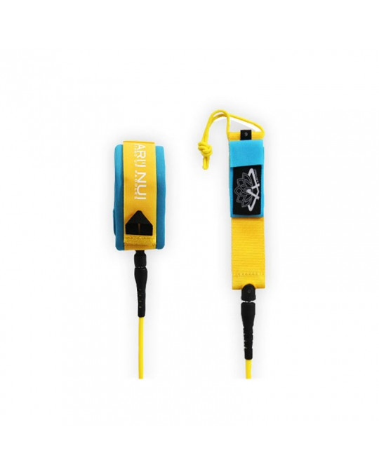 "Leash ARI'INUI SUP genoux straight 9'0"" Yellow/Blue"