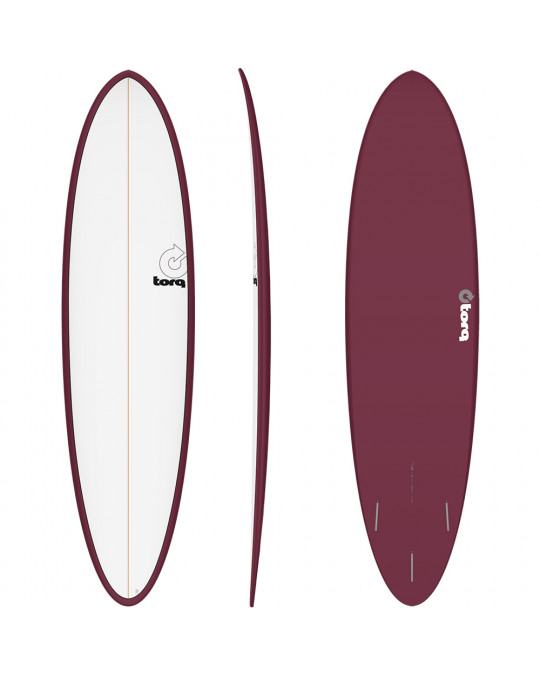"Planche de surf TORQ 7'2"" PINLINE FUNBOARD white/Burgundy"