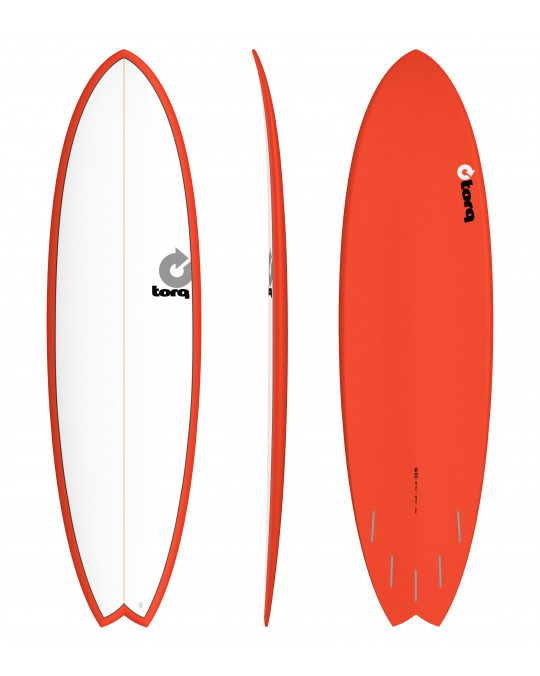 "Planche de surf TORQ 6'10"" PINLINE FISH white/red"