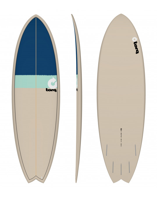 "Planche de surf 5'11"" NEW CLASSIC TORQ EPOXY FISH stone/seagreen/navy blue"
