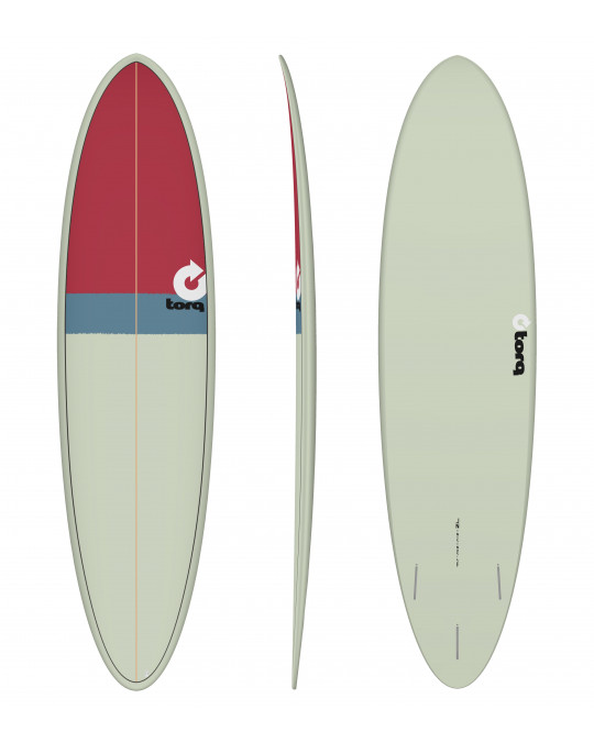 "Planche de surf 7'2"" NEW CLASSIC TORQ EPOXY FUNBOARD sand/gray/red"