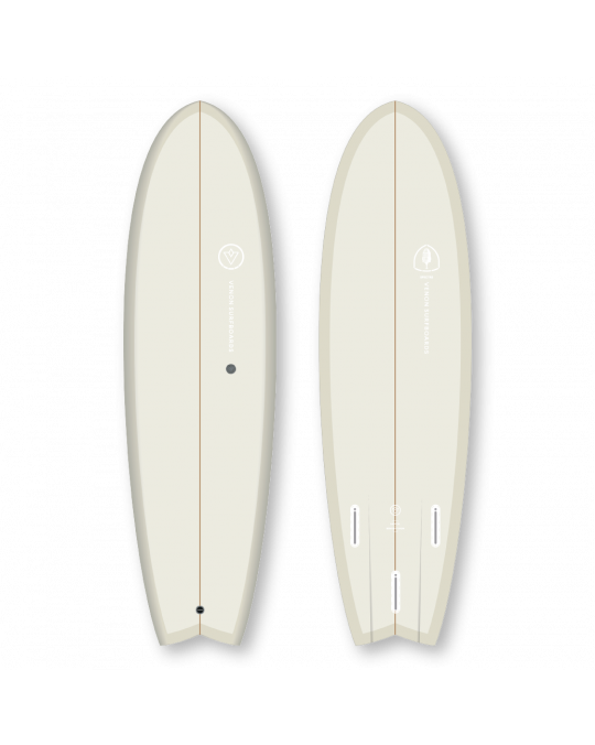 "Planche de surf VENON SPECTRE FISH 6'6"" Pastel Cream Swallow tail"